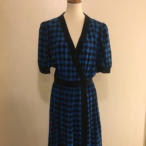 Nipon Boutique Blue/Black Checker Midi Wrap Dress